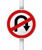 No u turn red circle traffic street sign post isolated on white background.