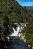 foto of hydro  - Water been release out of a New Zealnd hydro power dams - JPG