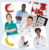 Collage of many doctors with fruits and pills