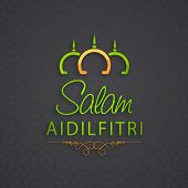 Colorful mosque and stylish text Salam Aidilfitri on grey background for Muslim community festival E