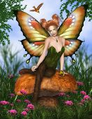 foto of fairy-mushroom  - Fantasy image Charming Fairy sitting on a mushroom - JPG