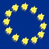 Europe flag 3D vector illustration poster