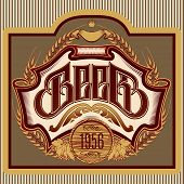 foto of oval  - vector oval label with ornament inscription for beer - JPG