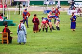 Mongolian Wrestlers Compete