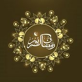 Arabic Islamic calligraphy of text Ramadan Kareem on shiny floral decorated brown background for hol