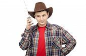 Cowboy Posing With Portable Radio
