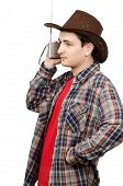 Young Cowboy Listening Romantic Country Music