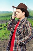 Cowboy Man Listening Romantic Western Ballads