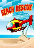 image of rescue helicopter  - Tropical beach rescue helicopter flying on a beach  - JPG