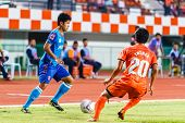 Sisaket Thailand-june 21: Wisarut Wai-ngan (blue) Of Singhtarua Fc. In Action During Thai Premier Le