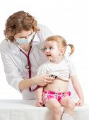 Doctor Examining Child Isolated On White