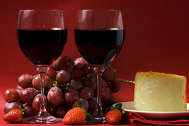 foto of wine grapes  - Wine and cheese with grapes and strawberries - JPG