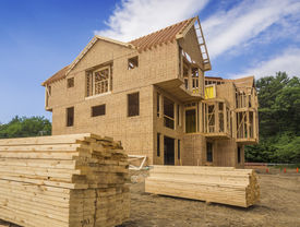 stock photo of 2x4  - A single family home under construction - JPG