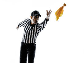 picture of referee  - american football referee gestures in silhouette on white background - JPG