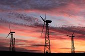 Windmills Against A Red Sunset
