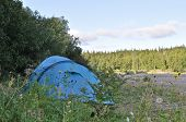 Camping Tent At The Edge Of Forest.