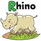 Little rhino for ABC. Alphabet R