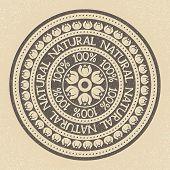 100% Natural stamp label, vector