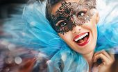 stock photo of masquerade mask  - cute girl in masquerade mask - JPG