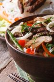 Asian Food: Rice Noodles With Shiitake, Meat And Vegetables