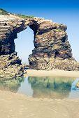Las Catedrales Beach In Galicia, Spain. Paradise Beach In Ribadeo, Spain