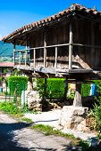 Pravia, Old Wooden Building Used As Barn. Asturias, Spain