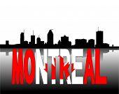Montreal skyline reflected with Canadian flag text vector illustration