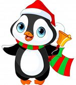 Cute Christmas penguin with jingle bell