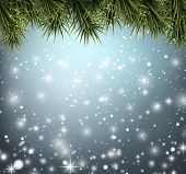 Winter abstract blue background with spruce twigs. Christmas vector wallpaper. Eps10.
