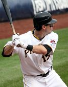 Andy LaRoche of the Pittsburgh Pirates swings at a pitch