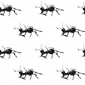 Black ants. Hand drawn vintage vector seamless pattern.