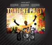 Dancing people. Party poster. Vector
