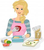 Illustration Featuring a Woman Preparing a Healthy Boxed Lunch