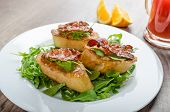 picture of french-toast  - French toast with honey and bacon limonade from red orange and fresh arugula salad - JPG