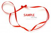 Shiny red and gold border ribbon   on white background with copy space.