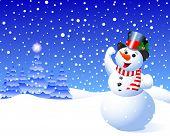 Snowman in winter scene against falling snow flakes. Raster version.