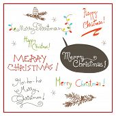 Merry christmas type set, hand drawn decorative lettering, text. Christmas holiday set, collection.