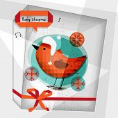 Merry christmas greeting card, robin bird. Vector card, seasonal winter illustration.