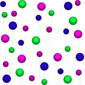 Fuchsia-Purple-Green Balloons on White