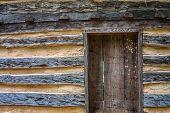 Wooden Door in Log House
