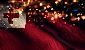 Tonga National Flag Light Night Bokeh Abstract Background