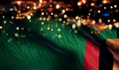 Zambia National Flag Light Night Bokeh Abstract Background