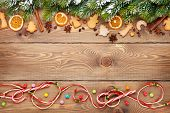 image of view from space needle  - Christmas wooden background with snow fir tree - JPG