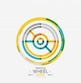 Car steering wheel icon, minimal line design, stamp