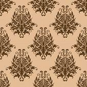 Brown pretty damask style seamless pattern