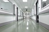 Hospital Corridor. Space In The Icu Unit In The Early Morning.
