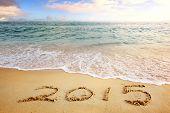 2015 new year sea beach sunset
