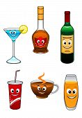 Drinks and beverage cartoon characters