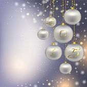 Silver Christmas decorations on a Christmas background