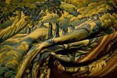 picture of gobelin  - tapestry gobelin folded as curtain close up